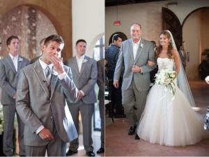 Wajah terkejut nan bahagia saat calon suami pertama kali melihat istrinya dalam gaun
